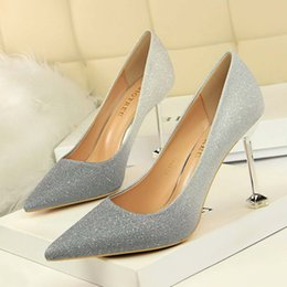 $enCountryForm.capitalKeyWord NZ - Grey And Silver Gradient Color Sexy Women Lady Shoes For Evening Party Prom Dress Pointed Toe Stiletto Heel Pumps Wedding Shoes Cheap