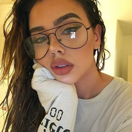 vintage metal glasses frames 2019 - New Glasses Metal Plain Glass Spectacles Frame UV400 Classic Glasses Metal Spectacle Frame Oversize Vintage Glass cheap