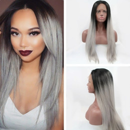 Discount lace front grey wig - Free Shipping Natural Look Ombre Grey to Black Silky Straight Dark Roots Wigs Synthetic Lace Front Wig Heat Resistant Wi