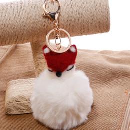 $enCountryForm.capitalKeyWord Australia - Free DHL Lovely 8CM Wool Fox Head Keychains Plush Animal Keychain Pom Pom Keyring Fluffy Key Chains Women Gift Bag Pendant 13 Styles G253Q F