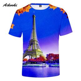 top eiffel tower 2019 - Aikooki New France Paris Eiffel Tower 3D T Shirts Men Women T-shirt Beautiful Eiffel Tower Short Slevee Ventilate 3D Tsh