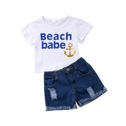 girls ripped shirts UK - 2Pcs Baby Girls Beach T-Shirt Tops+ Ripped Denim Shorts Set Kids Clothes Outfits