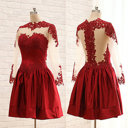 Strapless Sequin Red Dress Australia - Vestido De Festa 2018 Red Semi Formal Dresses Sexy Long Sleeve Lace Short Homecoming Dress Party Cocktail Wear E6485