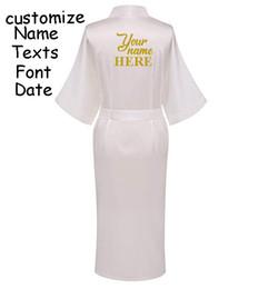 C Fung Personalized Satin Bridal Robe Bride pocket long robe Bachelorette party  wedding gift braidsmaid Silky Kimono robes f890ca996