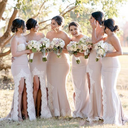 Side pleatS wedding dreSS beaded online shopping - 2019 African Cheap Mermaid Bridesmaid Dresses Sweetheart Lace Appliques Beaded Side Split Long Wedding Guest Dress Formal Maid of Honor Gown