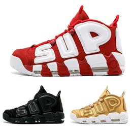 a3355c4028 2018 Air more 96 QS Olympic Varsity Maroon Mens Basketball Shoes CHI black  gold Airs 3M Scottie Pippen Uptempo Sports Sneakers 41-47