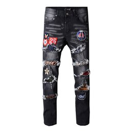 biker badges patches UK - New Italy Style Men's Distressed Destroyed Badge Pants Ribbed Patches Blue Skinny Biker Jeans Slim Trousers Size 29-40
