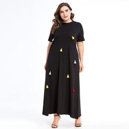 $enCountryForm.capitalKeyWord UK - Islamic Solid Color Summer Casual Kaftan Dresses for Ladies Womens Elegant Party Gown Tassel Short Sleeve Muslims Robe