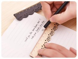 Wood Art Sculpture Australia - 15CM Vintage Wood Ruler - Lace Sculpture Wooden Student Rulers - Retro School Measuring Ruler for Kid Girl School Stationery