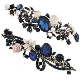 Wholesale Blue Retro Alloy Crystal Hairclips Vintage Womens Lady Flower Shaped Hair Clamps Clips Barrette Hair Styling Accessories