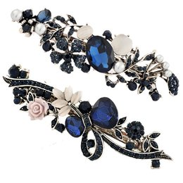 Flower Hair Clip Vintage Australia - Blue Retro Alloy Crystal Hairclips - Vintage Womens Lady Flower Shaped Hair Clamps Clips Barrette Hair Styling Accessories