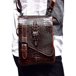 genuine leather chest bags 2019 - 2018 New Alligator Genuine Leather Casual Chest Bag for Men Crocodile Pattern Shoulder Bag Man Small Crossbody Phone Wai