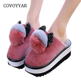 38e9f6ffd72 COVOYYAR Platform Wedges Women Slippers 2018 Lovely Furry Ball Winter Shoes  Women Pom Pom Non-slip Outdoor Slides Shoes WSL600