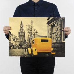 Wall Stickers London NZ - 51x36cm Yellow Vintage Car London Street Poster Kraft Paper Bar Poster Retro Poster Decorative Painting Wall Stickers