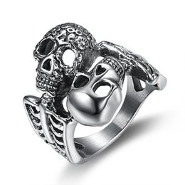 Unique Best Friend Jewelry UK - Unique Stainless Steel Double Skull Face Biker Ring Hip Hop Rock Punk Best Friend Finger Ring for Men Fashion Party Jewelry