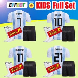 Set Football Uniforms Canada - Argentina kids 2018 Soccer Jersey Argentina BOYS full Sets Jersey Home With Socks DYBALA Messi Aguero Di Maria Child football uniform Shirt