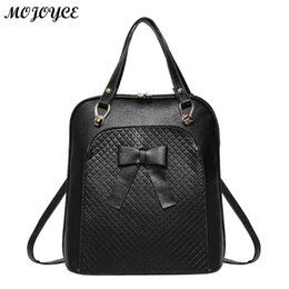 3c3743ec7c Women Elegant Backpack Bowknot Backpack Girl Lady School Bags PU Leather  Contrast BackpacCasual Solid Rucksack 5 Colors New