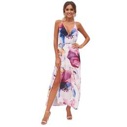 a319e562c43 Summer Women Sexy Deep V Neck Backless Maxi Dress Spaghetti Strap Floral  Print High Splits Slim Dress Boho Beach Vacation Party