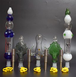 nectar collector grade kit 2019 - DHL 14mm Mini Nectar Collector kit with Grade 2 Titanium Tip Nail Inverted Nail Dab Oil Rig Mini Glass Pipe Glass Bong c