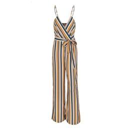 32bc819d09e Full legging bodysuit online shopping - Sexy Multi Stripe Women Jumpsuit  Romper Loose Warp High Waist