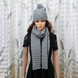 $enCountryForm.capitalKeyWord Canada - 1Set Women Scarf And Hat Set Fashion Warm Woolen Knit Hood Winter Scarf And Cap Hats For Women Suit Bufandas