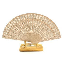 art for sale cheap UK - 8 Inches Imitation Sandalwood Folding Fan With Scented Wood Silk Hand Wood Fans For Bride Cheap Wedding Favors Hot Sale 1 8xf BB