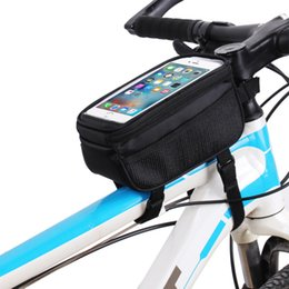Panniers For Bikes Canada - Bicycle Bags Bike Frame Holder Pannier Mobile Phone Bag Case Pouch Touch Scree Cycling Bag for Iphone 5.0 inch