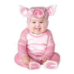 Monkey Halloween Costumes Canada - Cosplay Baby Rompers Newborn Clothes Animal Cute Pig Bear Monkey Hooded Jumpsuits Carnival Christmas Halloween Costume for Kids