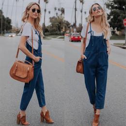 99ba91941313 Casual Women Loose Jumpsuit Denim Romper 2018 New Fashon Solid Pocket Straps  Overalls Trousers Long Pants S-XL