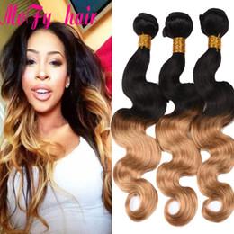 Hair Color Australia - Ombre Brazilian Hair Body Wave Blonde Human Hair Weave 2 Tone 1B 27 Color Cheap Peruvain Malaysain Indian Body Wave 4 Bundles Deal