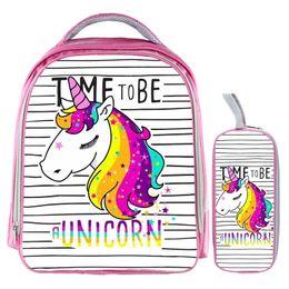 Discount rainbow pencils - 13 Inch Unicorn Backpack Rainbow Horse Backpack Kids School Bags for Girls Baby Kindergarten Child Bags Pencil Bag Sets