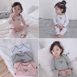 toddler boys tees 2019 - Autunm Winter 2018 Toddler Baby Home Pajama Suits Long Sleeve Top Base Tees+cherry Printed Leggings Baby Girls Kids Clot