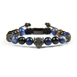 MacraMe aniMal online shopping - Men Panther Cz Bracelets mm Natural Stone Beads With Black CZ Leopard Macrame Stainless Steel Jewelry