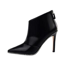 d4d028182 Boa qualidade Mulheres Ankle Boots Plus Size 35-40 Pedrinhas Sapatos de  Salto Alto Mulher Zip Apontou Toe Botas de moda Sexy Para As Mulheres