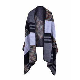Discount ladies knitted shawl - 2018 New Brand Women's Winter Poncho Vintage Blanket Women's Lady Knit Shawl Cape Cashmere Scarf echarpe foula