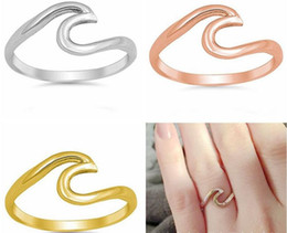 $enCountryForm.capitalKeyWord NZ - 3 Colors Stainless Steel Ring Wave Design Rings 18K Gold Band Rings Wedding Ring for Women Men Fashion Jewelry Gift Drop Shipping