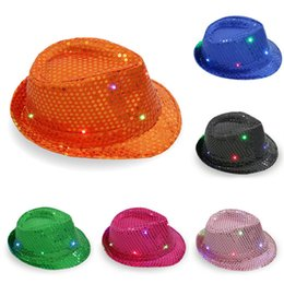 b8135b89196 Jazz style hats online shopping - LED Luminous Hat Children Adults  Performance Sequins Flash Light Cowboy