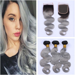silver grey hair extensions Australia - Body Wave Indian Virgin Human Hair Grey Ombre Weave Bundles with 4x4 Front Lace Closure Dark Root #1B Silver Grey Ombre Hair Extensions