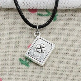 $enCountryForm.capitalKeyWord NZ - New Fashion Tibetan Silver Pendant lucky clover book 15*13*3mm Necklace Choker Charm Black Leather Cord Handmade Jewelry