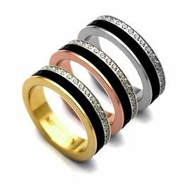 Steel Ceramic Diamond Ring UK - Fashion Lady 316 Titanium Steel Black White Ceramic Single Row Diamond Gear Wedding Engagement 18K Gold Plated Narrow Rings Size6-9