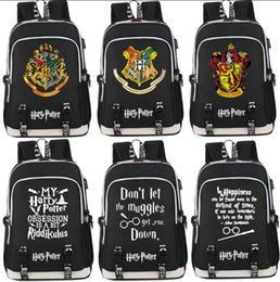Discount cartoon volleyball - Harry Potter Canvas Backpack 15 Styles Hogwarts Gryffindor Slytherin Rucksack USB Charging Port Phone Interface Laptop O