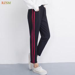 ankle length capris 2019 - 2018 Autumn Harem Pants Capris Jeans Woman High Waist Plus Size Side Stripes Ankle-Length Black Denim Pants Large Size S