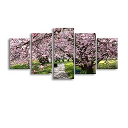 Art Canvas Prints Australia - 5 pieces high-definition print Blooming red flowers canvas painting poster and wall art living room picture PF5-001