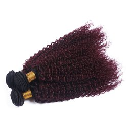 Chinese  Cheap Hair Bundles Quality Assurance 99j Ombre Kinky Curly Human Hair Bundles 99j Wine Red Two Tone Curly Hair Weaves 4Pcs Lot manufacturers