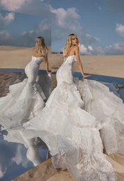 $enCountryForm.capitalKeyWord NZ - 2018 Pnina Tornai Mermaid Wedding Dresses Sweetheart Lace Tulle Applique Sweep Train Sexy Beach Bridal Dress Backless Lace Up Wedding Gowns