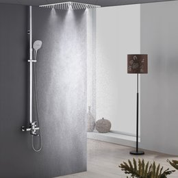 lift inches 2019 - New Bathroom System Ceiling Mounted 16 Inches Rainfall Spray Shower Head with Adjustable Lifting Rod Hand Held Shower fo