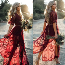 Weddings Dresses Slits NZ - 2019 Country Style Beach Burgundy Full Lace Wedding Dresses V Neck Slit Side High Half Sleeve Bridal Dress BA9826