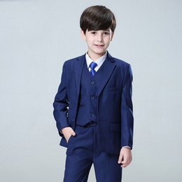 navy blue tuxedo weddings Canada - 2018 Navy Blue Wedding Suits for Toddler Boys Notched Lapel Blazers Groom Tuxedos Bridegroom Prom 3 Pieces Jacket Pants Vest Party