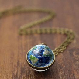 $enCountryForm.capitalKeyWord Australia - Earth Photo Glass Cabochon Double Sided Pendant Necklace Women Vintage Jewelry Gift for Girl