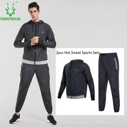 Body Fitness Suit Australia - Vansydical Hot Sweat Sports Suits 2 Pcs Gym Clothes Set Quick Perspiration Hooded Jackets+Pants Suits Man Fitness Body Shapers